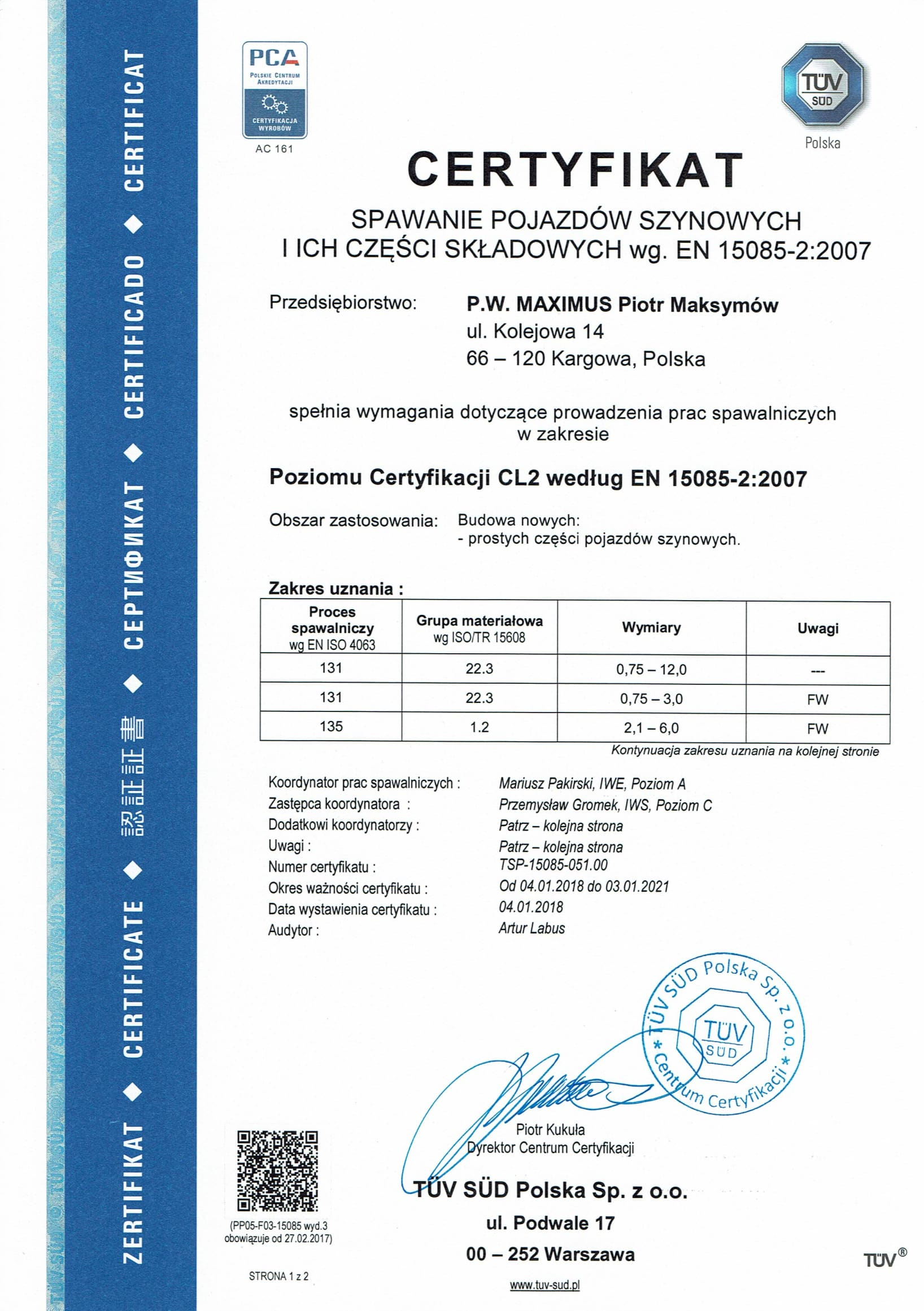 CERTYFIKAT POLSKI 15085 1 4