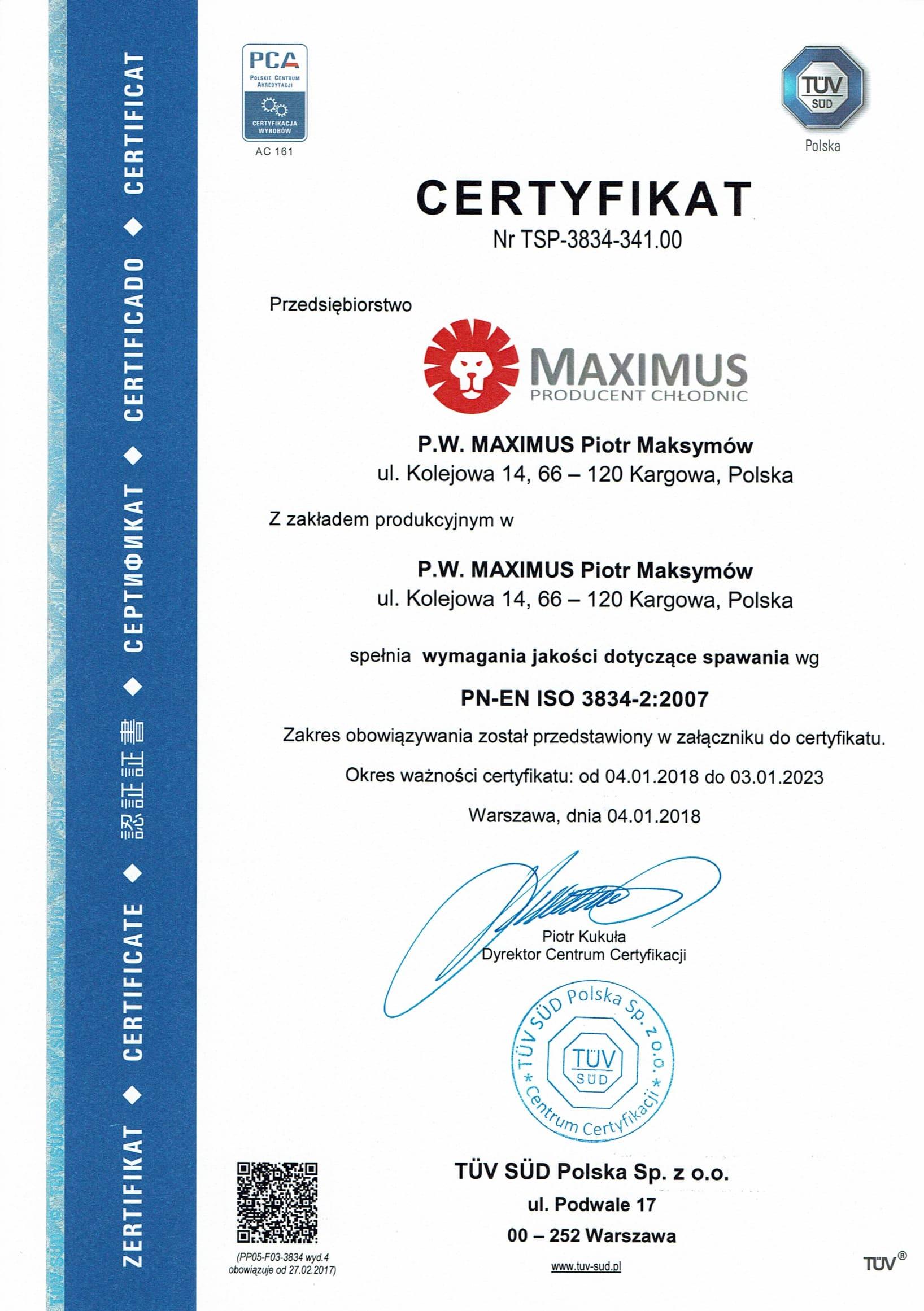 certyfikat polski 3834 1 4
